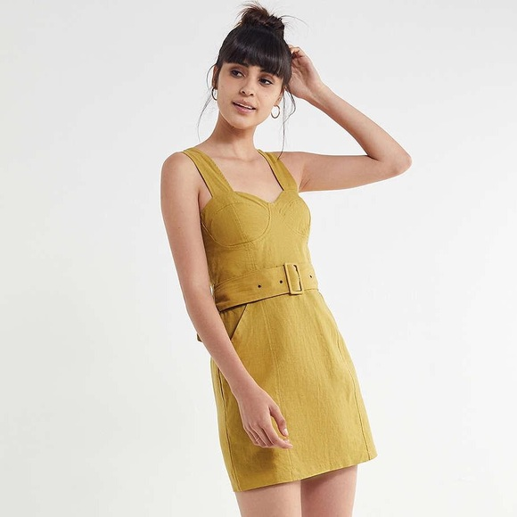 NWT Urban Outfitters Angelique Belted Linen Dress